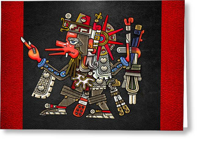 Quetzalcoatl In Human Warrior Form - Codex Borgia Greeting Card by Serge Averbukh