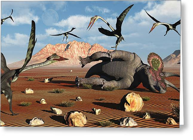 Quetzalcoatlus Scavage At The Remains Greeting Card by Mark Stevenson