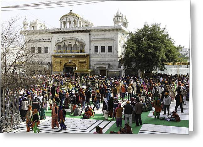Queue Of People In Front Of Akal Takht And Darshan Deori Greeting Card by Ashish Agarwal