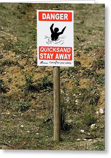Quicksand Warning Sign Greeting Card