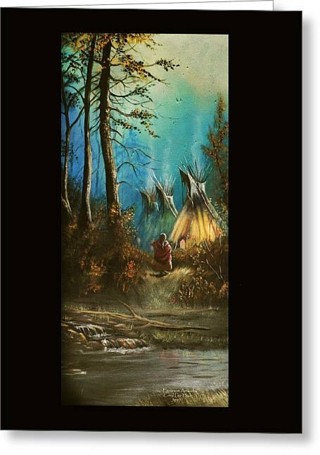Quiet Forest With Tepees Blank Greeting Card