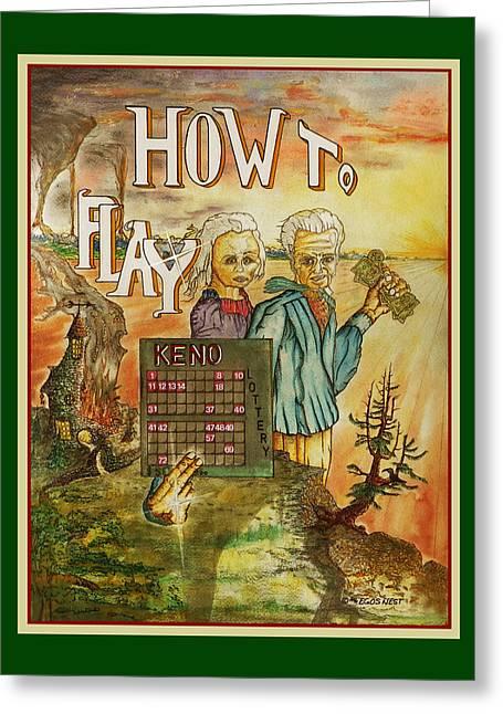 Quiet Gambling Keno Win Big Greeting Card by Michael Shone SR