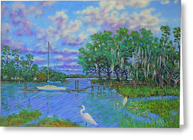 Quiet Low Country Lagoon Greeting Card by Dwain Ray