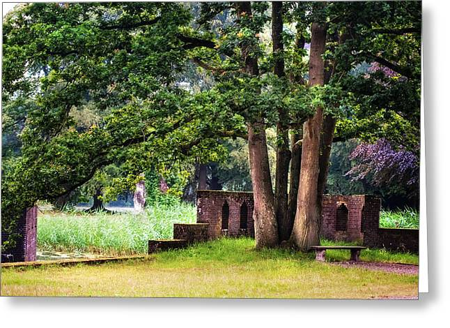 Quiet Park Corner. De Haar Castle Greeting Card by Jenny Rainbow