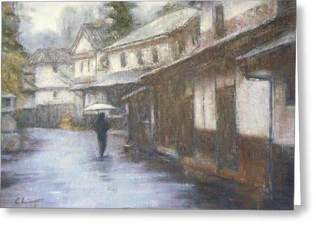Quiet Rain - Japan Greeting Card by Chisho Maas