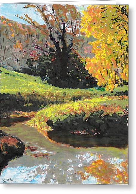 Quiet Stream Maryland Landscape Fall Colors Sketch Greeting Card