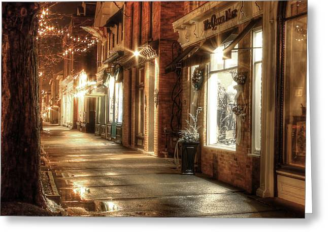 Quiet Street Greeting Card by Ric Potvin