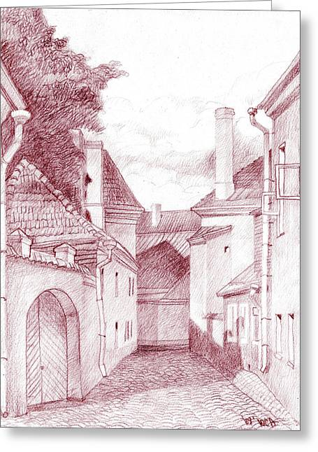 Quiet Street Greeting Card by Serge Yudin