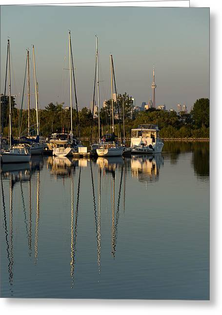 Quiet Summer Afternoon - Sailboats And Downtown Skyline Greeting Card by Georgia Mizuleva