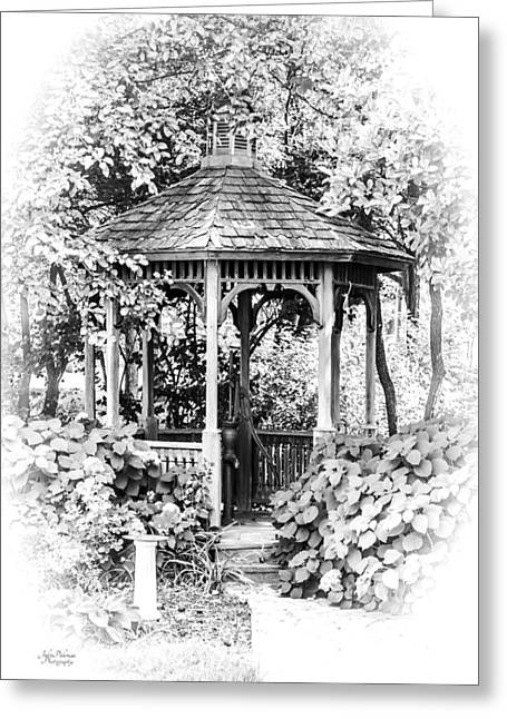 Quiet Time In The Gazebo Greeting Card by Julie Palencia