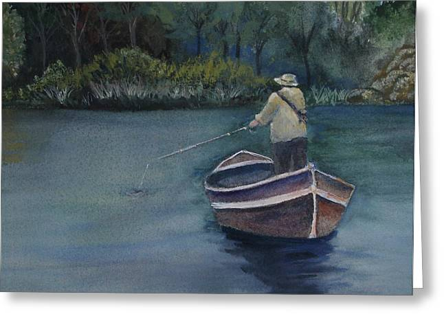Greeting Card featuring the painting Quietude by Jan Cipolla