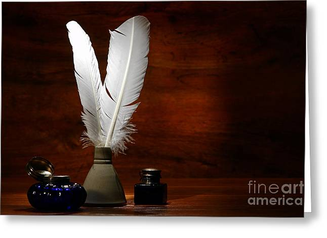 Quills And Inkwells Greeting Card by Olivier Le Queinec