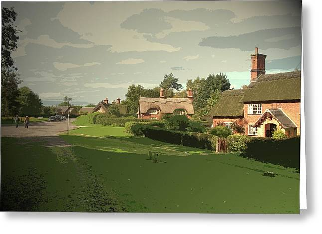 Quilow Lane In Osmaston, Some Of The Many Thatched Cottages Greeting Card by Litz Collection