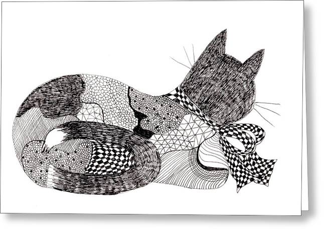 Quilt Cat With Bow Greeting Card