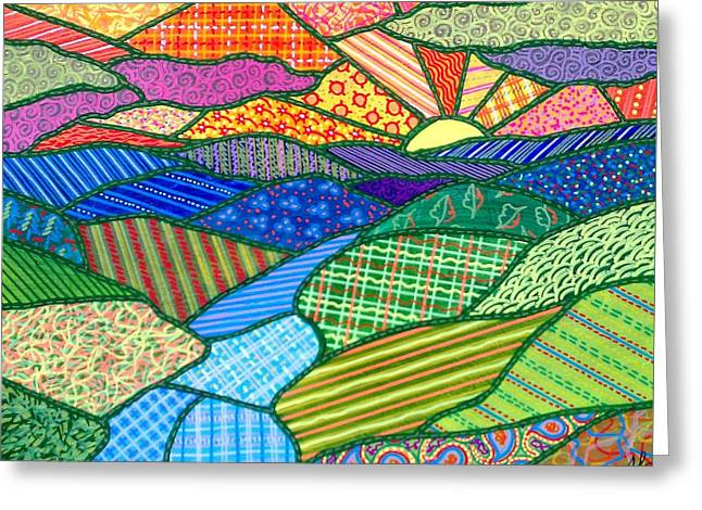 Quilted Appalachian Sunset Greeting Card