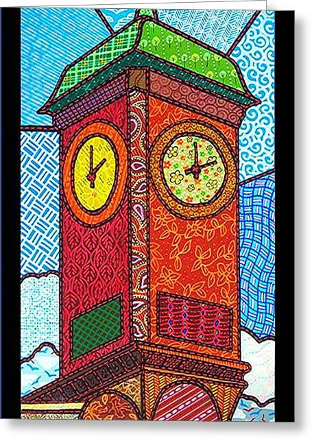 Quilted Clock Tower Greeting Card by Jim Harris