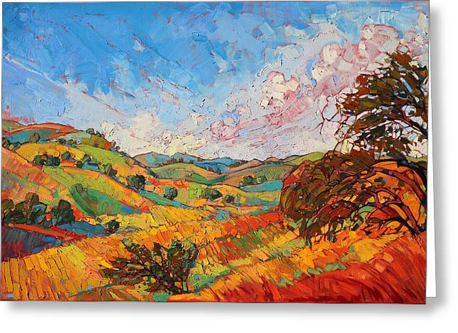 Greeting Card featuring the painting Quilted Color by Erin Hanson