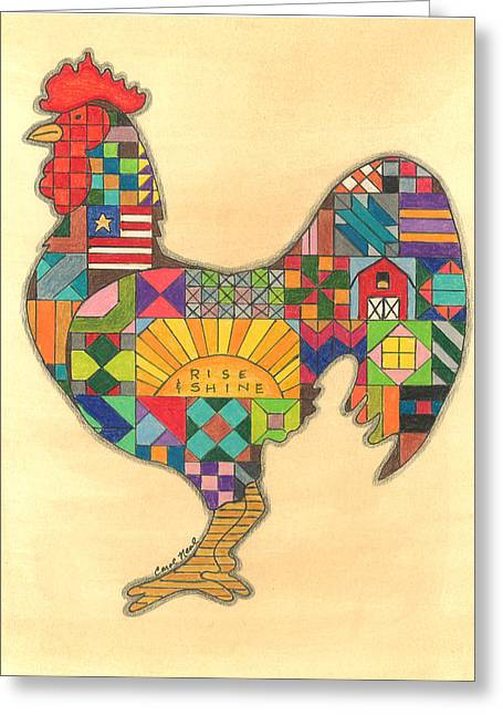 Quilted Rooster Greeting Card