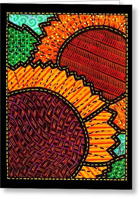 Quilted Sunflower Duo Greeting Card by Jim Harris
