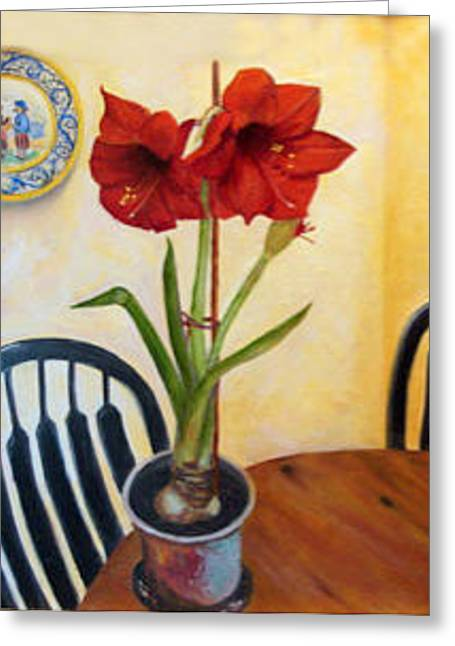 Greeting Card featuring the painting Quimper And Amaryllis by Sandra Nardone