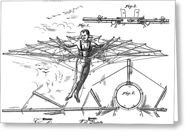 Quinby Flying Machine Invention Greeting Card