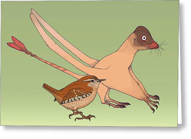 Quinlongopterus Size Comparison Greeting Card