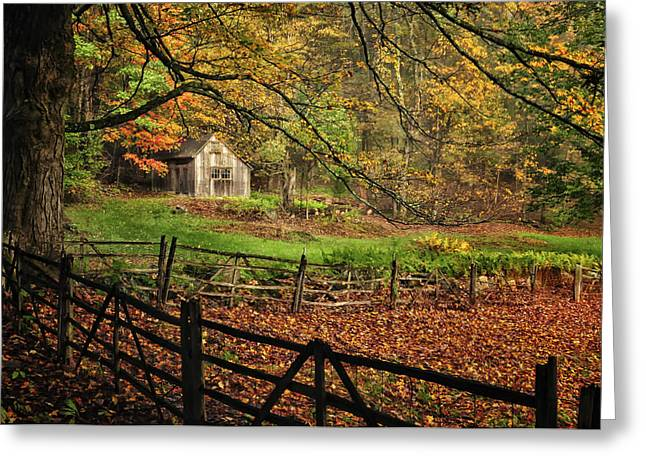 Quintessential Rustic Shack- A New England Autumn Scenic Greeting Card by Thomas Schoeller