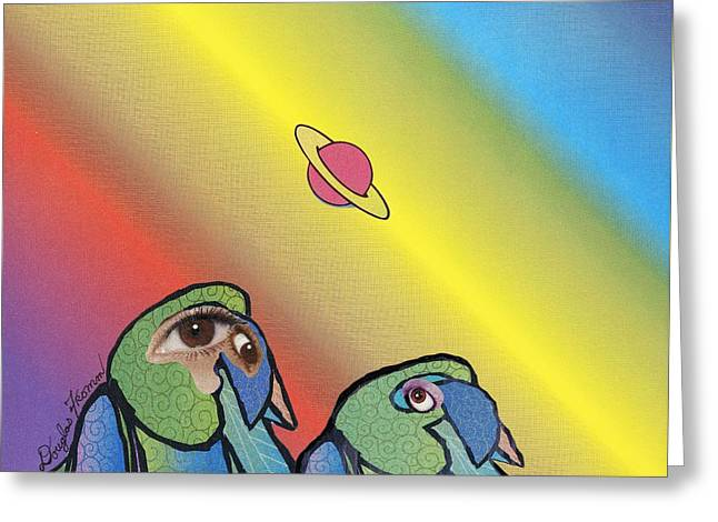 Greeting Card featuring the mixed media Quirky Birds by Douglas Fromm
