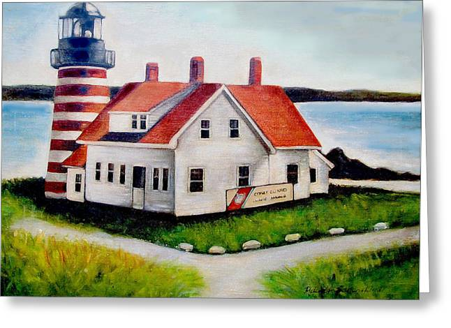 Greeting Card featuring the painting Quoddy Lighthouse Maine by Melinda Saminski
