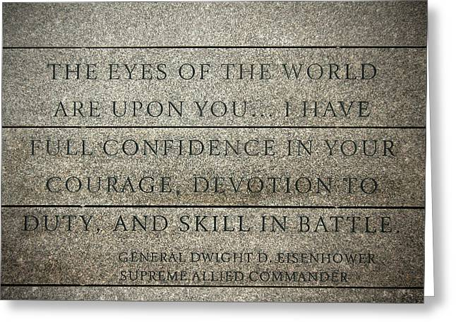 Quote Of Eisenhower In Normandy American Cemetery And Memorial Greeting Card