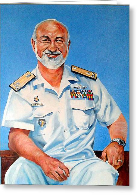 Greeting Card featuring the painting R Adm Koos Louw by Tim Johnson