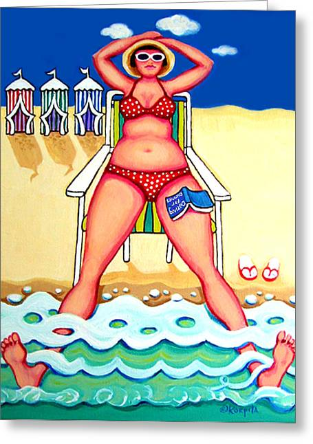 R And D - Woman On Beach Greeting Card by Rebecca Korpita