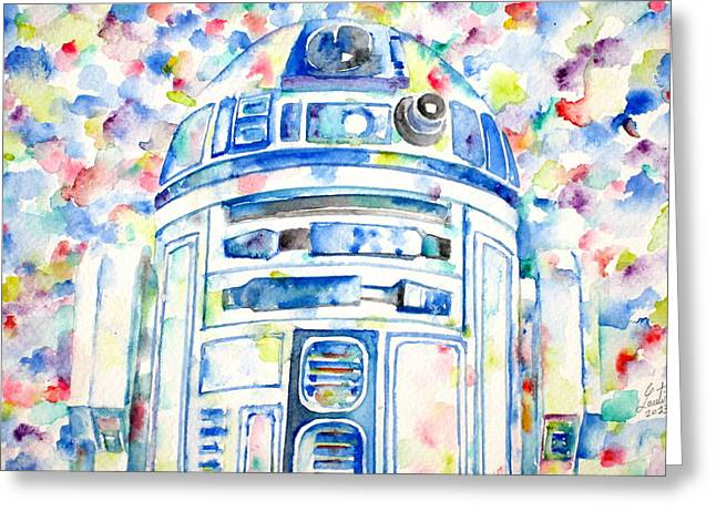 R2-d2 Watercolor Portrait.1 Greeting Card by Fabrizio Cassetta