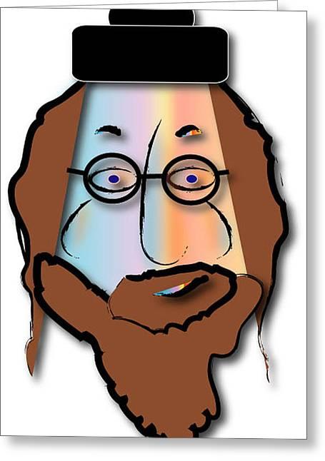 Greeting Card featuring the digital art Rabbi David by Marvin Blaine