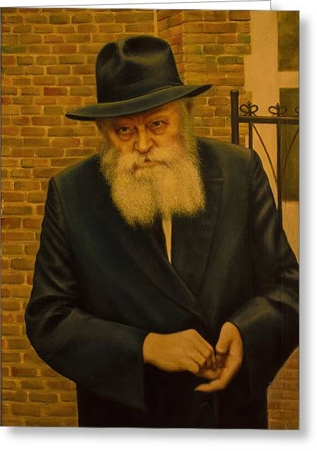 Rabbi Menachem Mendel Shneerson. Greeting Card by Eduard Gurevich