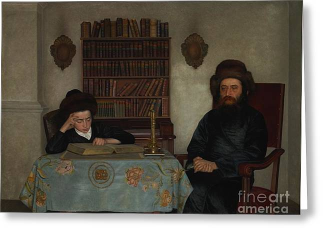 Rabbi With Young Student Greeting Card by Celestial Images