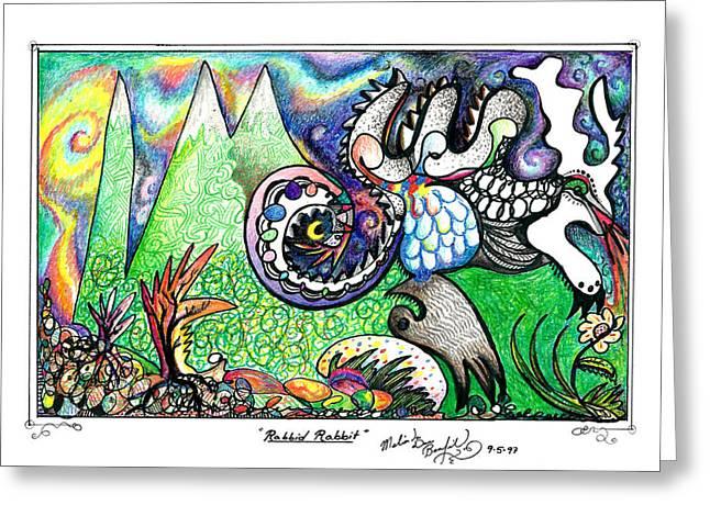 Rabbid Rabbit Greeting Card by Melinda Dare Benfield
