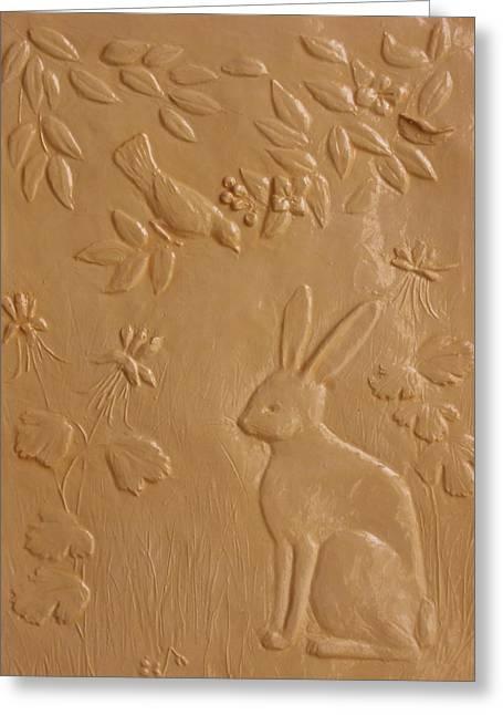 Rabbit And Robin Greeting Card by Deborah Dendler