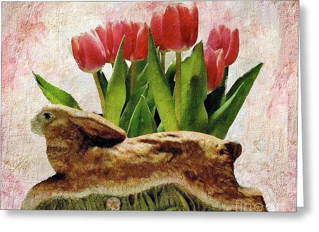 Rabbit And Pink Tulips Greeting Card