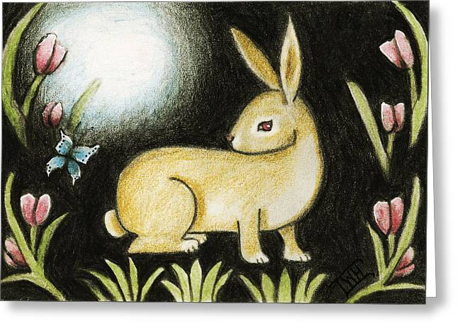 Greeting Card featuring the mixed media Rabbit And The Butterfly . . . From The Tapestry Series by Terry Webb Harshman