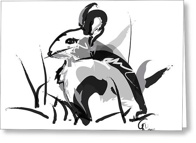 Rabbit Bunny Black White Grey Greeting Card