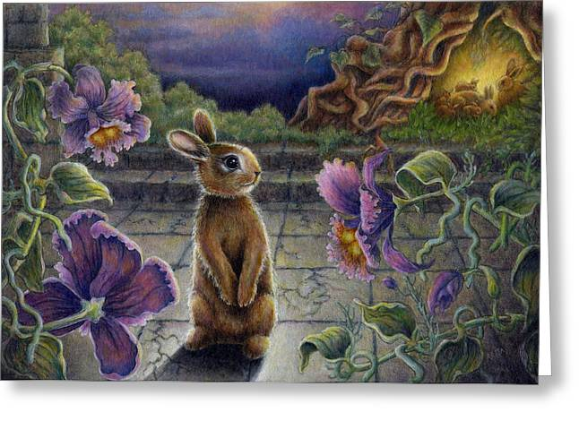Rabbit Dreams Greeting Card by Retta Stephenson