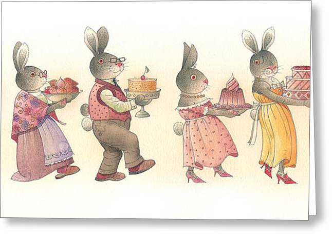 Holiday Drawings Greeting Cards - Rabbit Marcus the Great 11 Greeting Card by Kestutis Kasparavicius