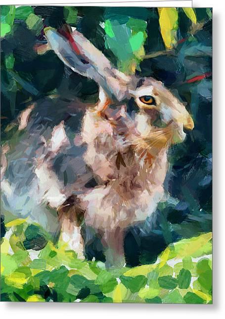 Rabbit On Alert Greeting Card
