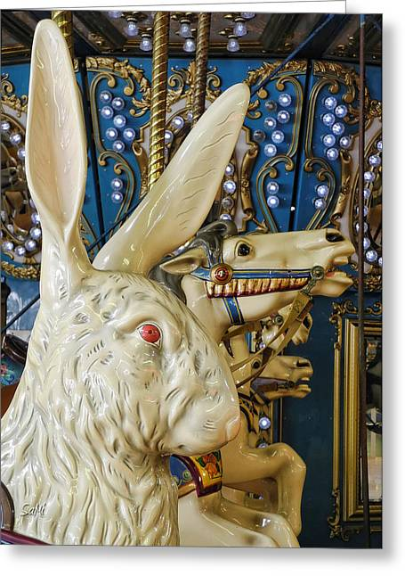 Greeting Card featuring the photograph Rabbit On The Carousel by Sami Martin