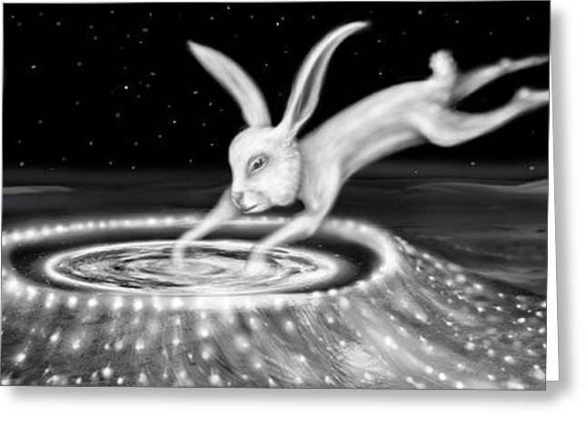 Rabbit On The Moon Greeting Card by Jerod  Kytah
