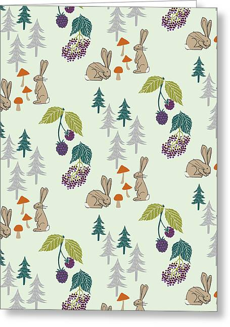 Rabbits Foraging In The Forest Vector Coordinate Pattern.jpg Greeting Card