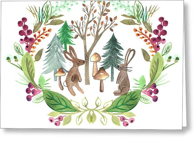 Rabbits Foraging In The Forest Watercolour Placement With Laurel Wreath Surround.jpg Greeting Card