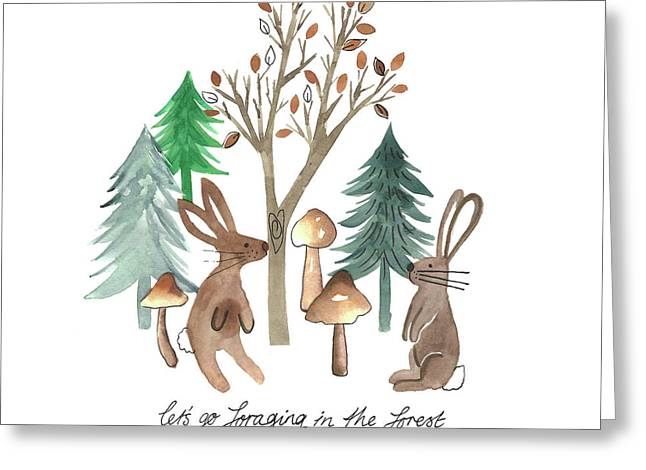 Rabbits Foraging In The Forest Watercolour Placement.jpg Greeting Card