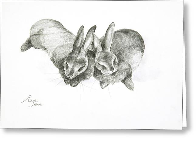 Rabbits Sleeping Greeting Card by Jeanne Maze